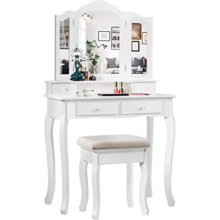 Giantex Vanity Table Set With Tri Folding Mirror And 4 Drawers Modern Bedroom Bathroom Dressing Table Makeup Desk With Cushioned Stool For Women Girls White Kitchen Dining