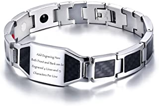 VNOX Personlized Custom 4 in 1 Elements Stainless Steel Carbon Fiber Inlay Magnetic Therapy Bracelet for Men,8.5