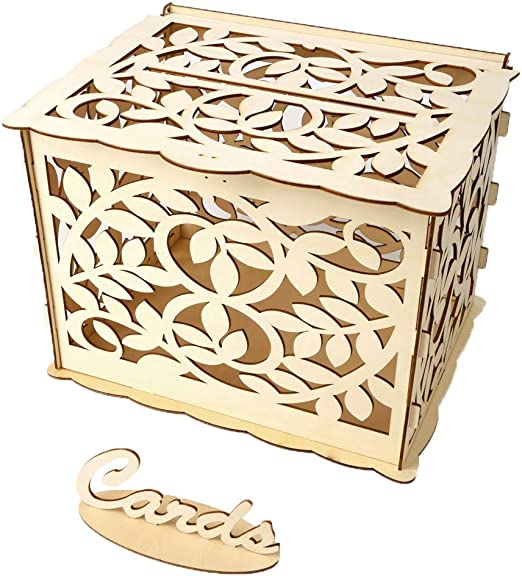 Amazon Com Mr Macy Wedding Card Box With Lock Diy Money Wooden Gift Boxes For Birthday Party Daily Use D Home Kitchen