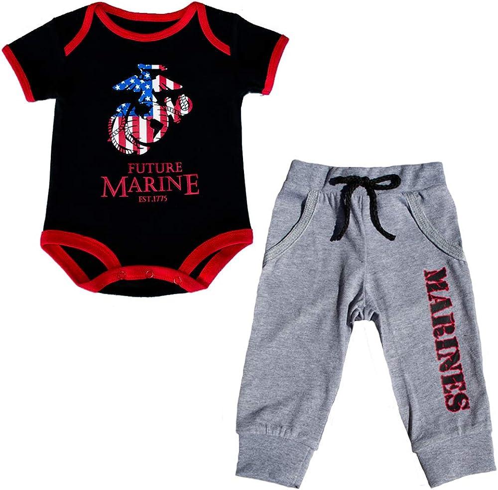 U.S.M.C. Baby Boys 2pc Patriotic EGA Future Marine Bodysuit Pants Set