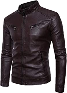 Men's Stand Collar Zipper Front Coat Fleece Lined Moto PU Leather Jacket