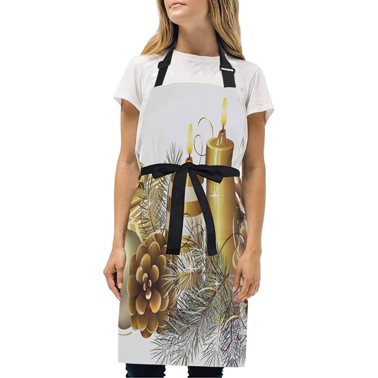 HJudge Womens Aprons Golden Kitchen Bib Aprons with Pockets Adjustable Buckle on Neck