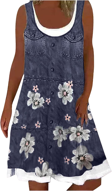 SoeHir Ladies Casual Crewneck Summer Sleeveless Dresses U-Neck A-line Short Casual Printed Loose Dress