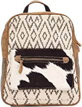 Myra Bag Chevron Upcycled Canvas & Cowhide Backpack S-1520