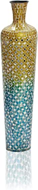 Iron Terracotta Floor Vase with Decorative Glass Mosaic Overlay Ideal Gift for Wedding, Special Occasions, Home Office, Spa, Reiki, Organic, Floral Arrangements (Blue Ombre, Medium)