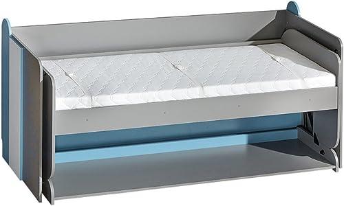 Jugendbett und Schreibtisch Futuro F14, Schrankbett mit Schreibtisch, Wandbett, Funktionsbett für Jugendzimmer (Graphit Weiß + Türkis, ohne Matratze)