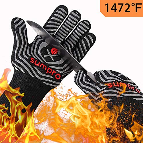 SUMPRO BBQ Gloves Extreme Heat Resistant,Hot Cooking Oven Gloves for Kitchen,Heat Resistant Grill Gloves for Men,Oven Mitts,Smoker,Barbecue,Grilling,13.5 Inch