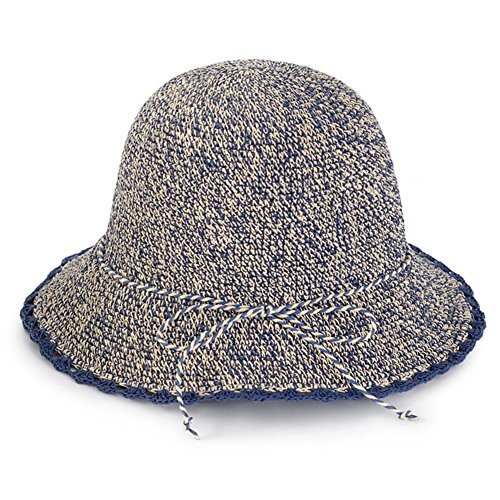 WYYY Chapeau Dame Chapeau De Soleil Pliable Fabriqué À La Main Bowknot par Le Travers Protection Contre Le Soleil (Couleur : Bleu)