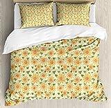 Girasol de edredón por Ambesonne, naturaleza patrón floral de patchwork estilo rústico país diseño, decorativo juego de cama con fundas de almohada, amarillo naranja verde de oliva