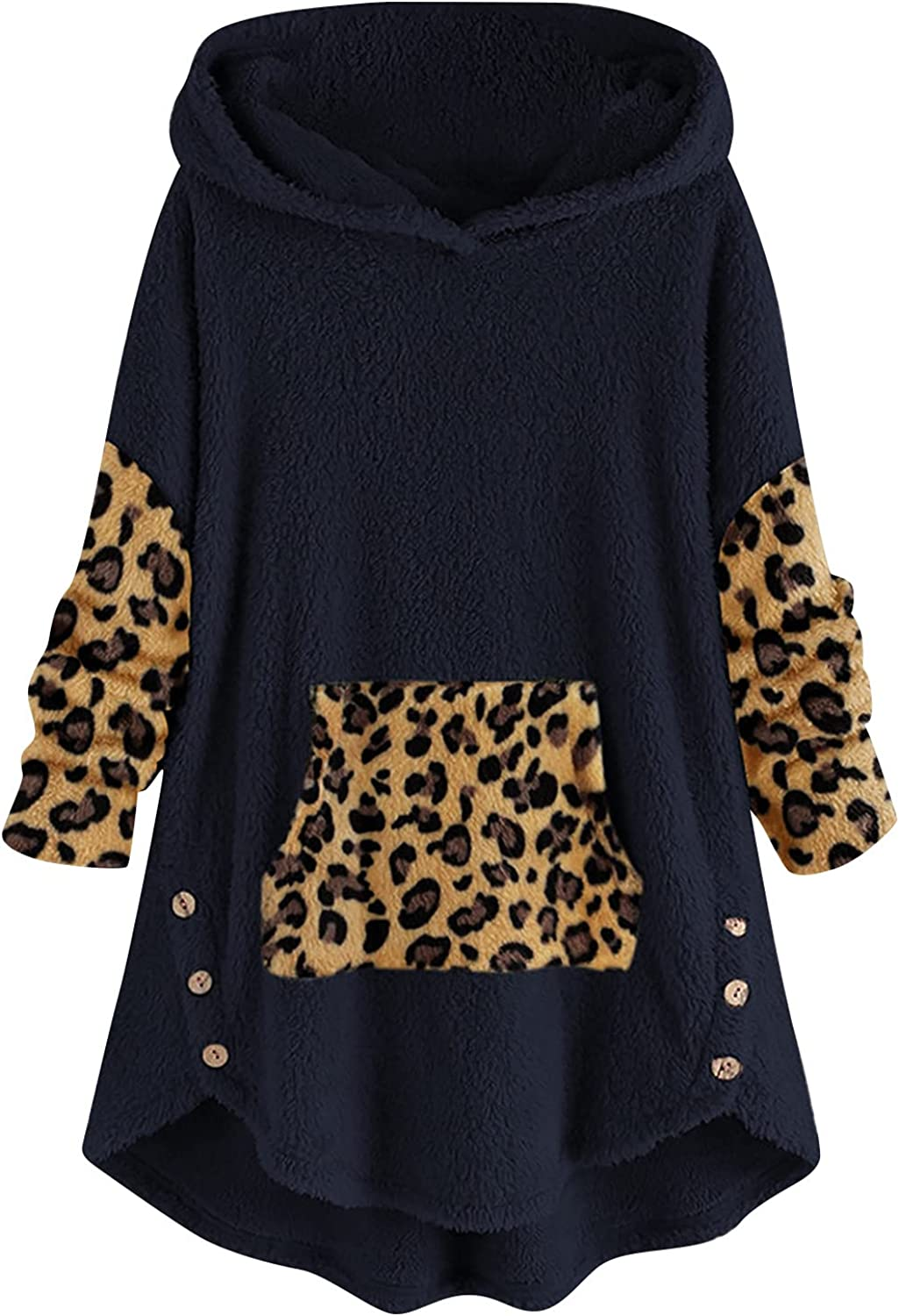 Winter Coats for Women,Womens Comfy Hoodies Pullover Tops Leopard Patchwork Printed Long Sleeve Ladies Plush Warm Overcoat