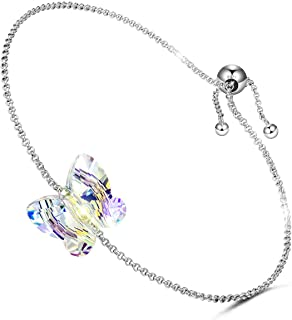 LADY COLOUR Silver Bracelet Secret Wish Butterfly Designed Adjustable Bracelet 7-9 in, Crystals from Swarovski Hypoallergenic Jewelry Gift Box Packing, Nickel Free Passed SGS Test Birthday Gifts