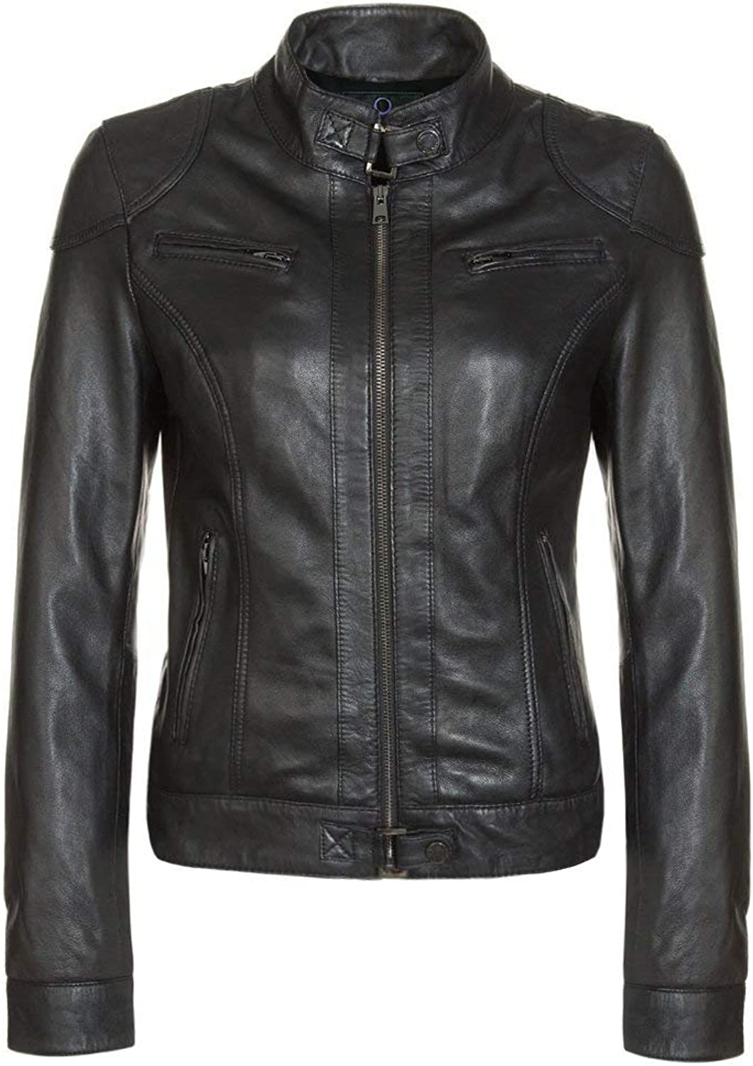 Chase Squad Strappy Faux Leather Jacket Women  Biker Faux Leather Jacket with Strapped Collar in Black
