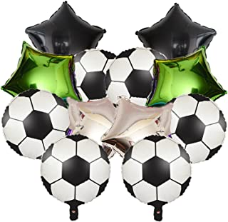 12PCS Soccer Foil Balloons And Star Shape Balloons -Soccer Themed Party Supplies Decorations Baby Shower Sport Wedding Bir...