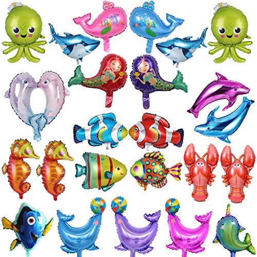 BESTZY Globos Peces 24PCS Foil Pescados Globos Animales Mar Globos Aluminio Helio Globo para decoración de Fiesta de cumpleaños de niños