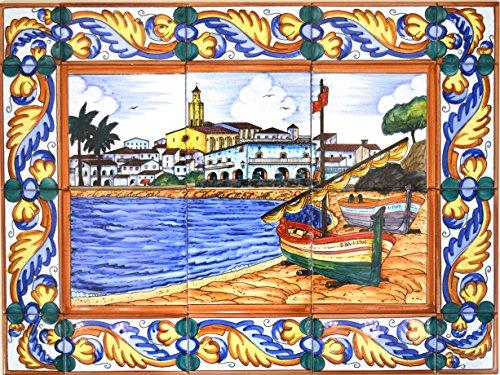 ART ESCUDELLERS Wandbild Marina CADAQUES / Boot / Strand mit Bordüre aus Keramik, handbemalt, 60 cm x 45 cm
