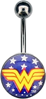Belly Button Ring Navel 14g 7/16 Navel with White Star Wonder Woman Fixed Logo Charm