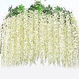 KayMayn 12PCS Kunstblumen, 110cm künstliche Glyzinien, Heimdekoration, hängende Dekoration Garland Seide Blumen für Party Home Dekoration Hochzeiten,zu Hause, Garten