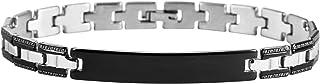 Brillibrum ID-armband länk armband rostfritt stål graveringstallrik silver guld läderarmband partner smycken vänskapsarmba...