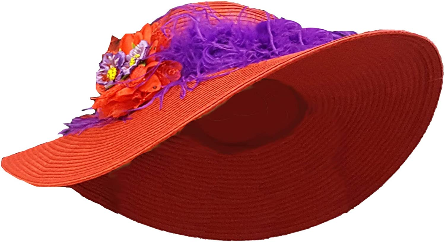 Red Very popular Hat with Purple Feather Hand-Painted Band Boa and Flowers Ranking TOP10