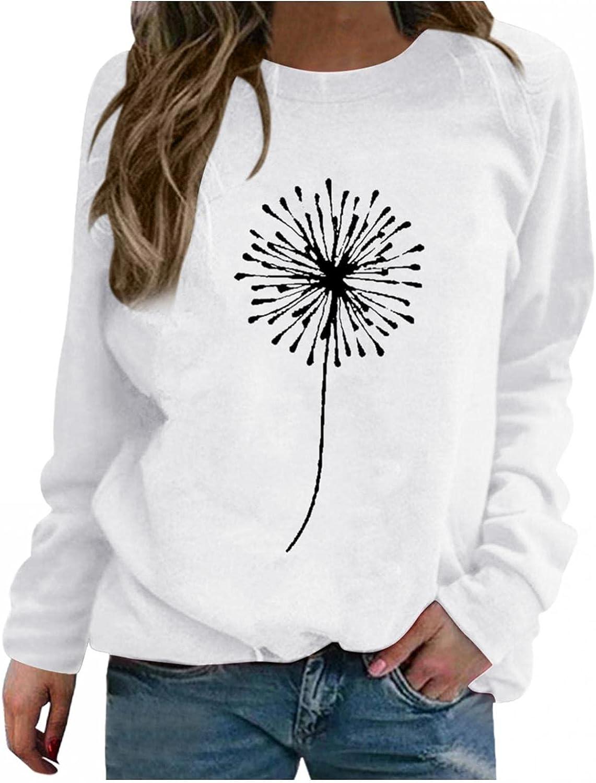 Hotkey Sweatshirts for Women, Whisper Words of Wisdom Let it be Crewneck Long Sleeve Tops Butterfly Print Pullover Sweatshirt