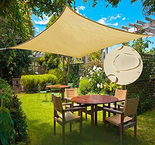 Ximger Pantalla de privacidad para patio trasero, terraza, balcón, porche, protección UV, color arena (4 x 6 m, rectángulo)