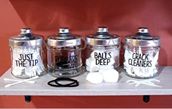 funny bathroom jars, balls deep cotton ball holder, just the tip holder,