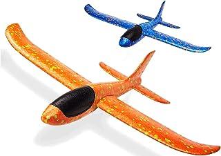 "FunBlast Airplane Toy Set of 2 - 17.5"" Large Throwing Foam Plane, Dual Flight Mode, Aeroplane Gliders, Flying Aircraft, Gi..."