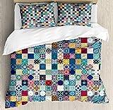 Juego de Funda nórdica marroquí, diseño Oriental Oriental con diseño de Mosaico de mosaicos de Rejilla Estilo asiático, Juego de Cama Decorativo de 3 Piezas con 2 Fundas de Almohada, Color arcoíris