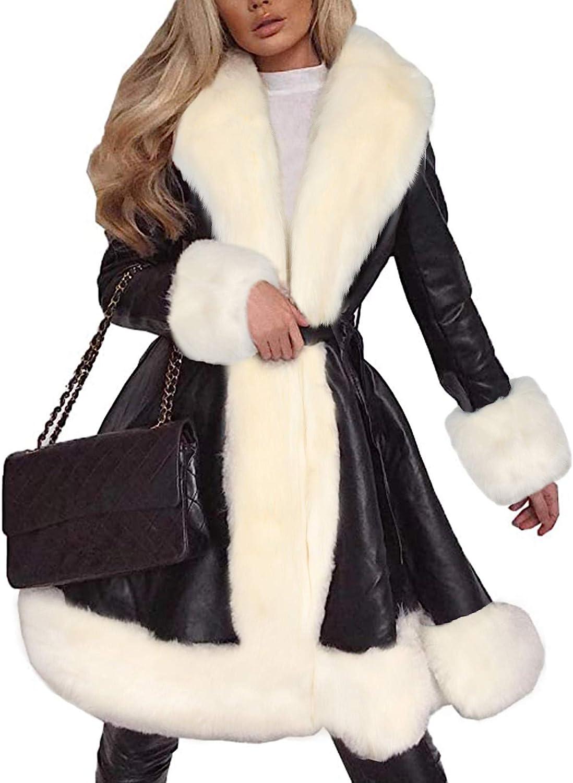 WUAI-Women Faux Fur Pu Leather Fleece Lined Warm Quilted Sherpa Parka Jacket Fur Coat Winter Long Peacoat Outwear