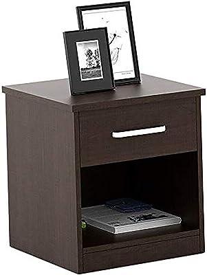 MODWAY Sheesham Wood Bedside End Table with Drawer and Shelf Storage (Walnut Finish)