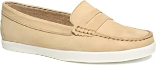 Driver Club USA Women's Leather Made in Brazil Penny Loafer Deck Shoe Boat, Cream Nubuck, 5.5 M US