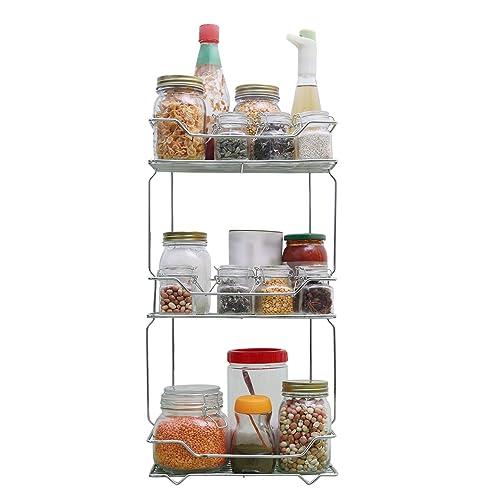 Livzing 3 Tier Storage Organizer Stainless Steel Wall Hanging Multi-Purpose Kitchen Bathroom Spice Rack Shelf Screws