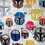 Star Wars Mandalorianische bunte Helme, Baumwollstoff, 50