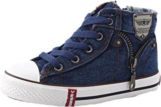 HW-GOODS Boy's High Top Zip Closure Canvas Shoes Novelty Casual Fashion Sneaker