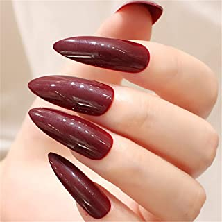 BloomingBoom 24 Pcs 12 Size Super Long Stiletto Pointed False Nail Full Cover Fake Nail Press on Salon Pre Design Women Claw Mountain Peak Acrylic Wine Red