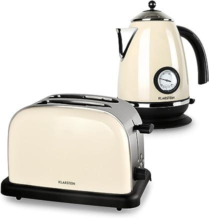 Klarstein Aquavita Set de desayuno (hervidor de agua de 1.7 litros, tostadora de 2 ranuras y 1000W, diseño retro años 50) - crema