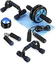 TOM Shoo 6-in-1 fitnessapparaat 【Verbeterde versie】 buikspierwiel + pompgreep + springtouw + handtang + 2 fitnessschijven...