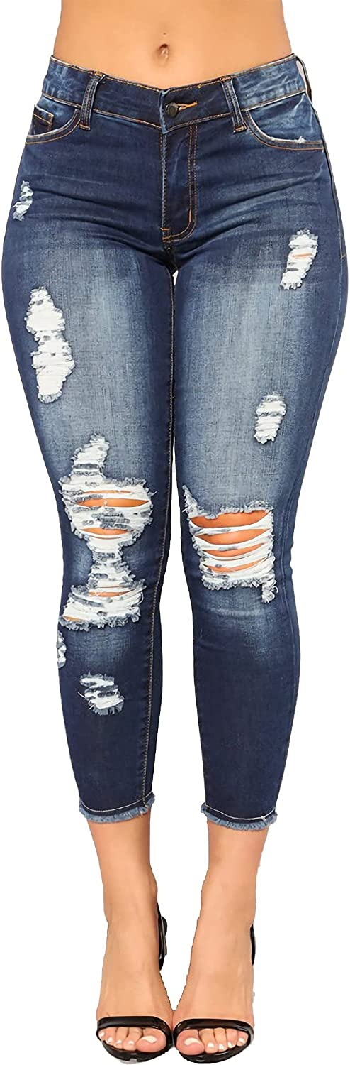 High Waist Skinny Stretch Ripped Jeans for Women, Destroyed Denim Cropped Pants.