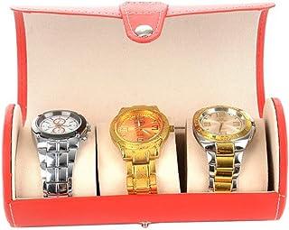 Caja de reloj Mujeres de cuero de la caja de reloj Cajas de almacenamiento de cilindros de almacenamiento caja de presenta...