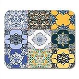 Yanteng Almohadillas para Mouse Rama Azul Maravilloso Azul Blanco Colorido Azulejos portugueses Azulejo Adornos Patrón Rellenos Colores Alfombrillas de ratón Alfombrilla para ratón Adecuado para