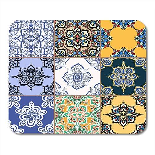 Yanteng Almohadillas para Mouse Rama Azul Maravilloso Azul Blanco Colorido Azulejos portugueses...