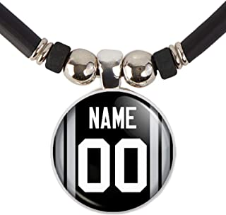 Oakland Football Jersey Necklace Personalized with Your Name and Number Oakland Football Jersey Glass Pendant Necklace Jew...