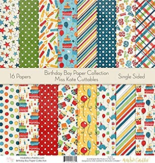 Pattern Paper Pack - Birthday Boy - Scrapbook Premium Specialty Paper Single-Sided 12