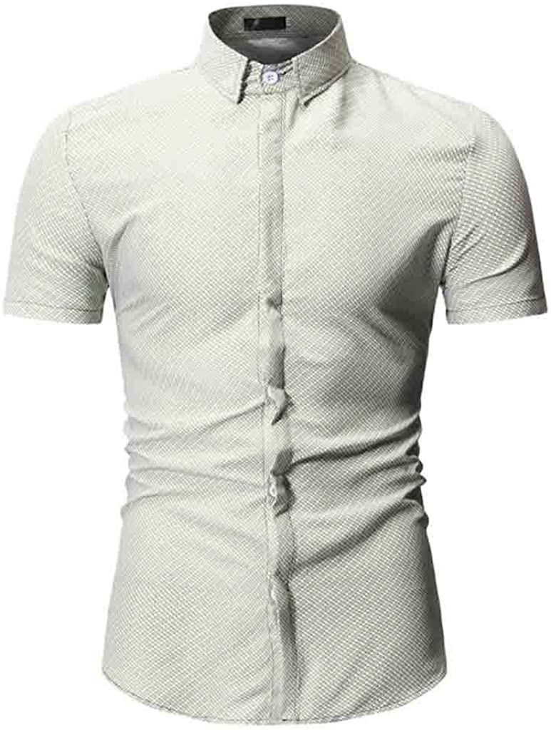 MODOQO Dress Shirt for Men-Summer Casual Print Wrinkle-Free Turn-Down Collar T-Shirt