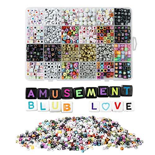 ZWOOS DIY Armband Buchstaben Perlen, 1200 Stück Kinder DIY Armbänder Selber Machen Schmuck Schnurset, Geburtstagsgeschenk für Schmuck Machen, Armbänder, Halsketten, Schlüsselanhänger