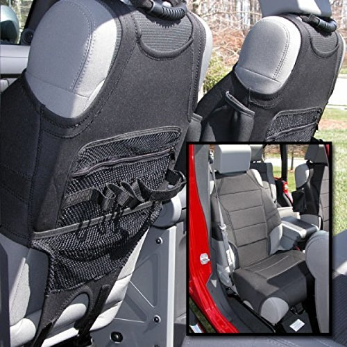 Rugged Ridge 13235.20 Black Neoprene Front Seat Protector Vest for 2007-2018 Jeep Wrangler JK and JL Models - Pair