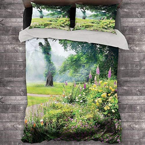 LanQiao Garden Summer Duvet Cover Colorful Flowers with Trees. 68'x86' inch King Duvet Set