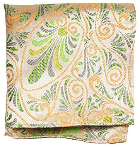 Paul Malone de carré de poche mouchoir 100% soie Orange fleurs