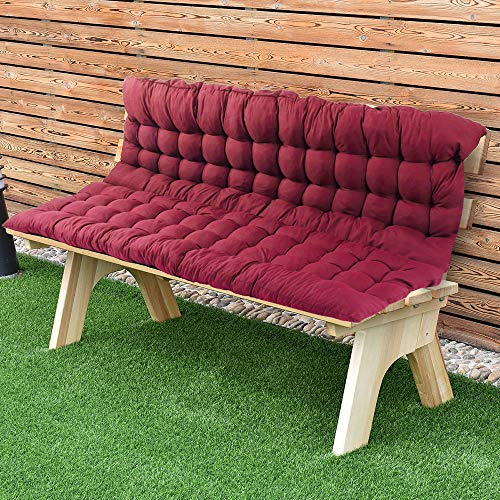 """Scorpiuse Soft Bench Cushions with Backrest Non-Slip Bench Pads with Ties Indoor/Outdoor Swing Chair Tatami Floor Loveseat Cushion for Dining, Patio, Camping, Kitchen Benches (39""""x59"""", Red)"""