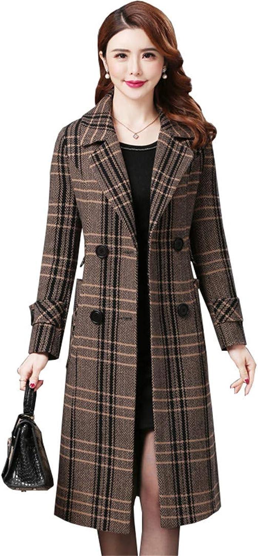 Beltnossnk Women Warm Medium Long Plus Size Trench Coat Plaid Lapel Woolen Jacket